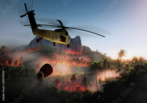 forest fire and fireman helicopter Poster Mural XXL