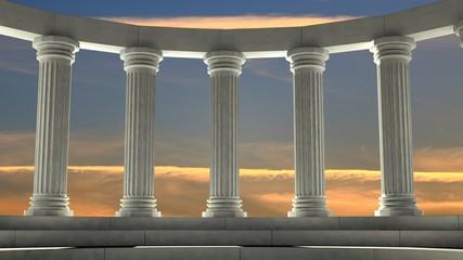 Panel Szklany Architektura Ancient marble pillars in elliptical arrangement with orange sky