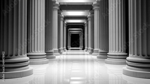White marble pillars in a row inside a building Canvas Print