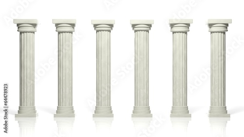 Ancient marble pillars in a row isolated on white Wallpaper Mural