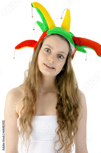 Teenager Mit Narrenkappe Zu Fasching Buy This Stock Photo And