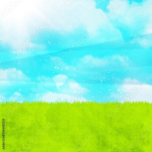 Poster Turquoise blue sky and green lawn on paper background