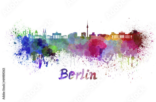 Berlin skyline in watercolor Poster