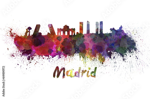 madrid-skyline-in-watercolor