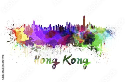 фотография  Hong Kong skyline in watercolor