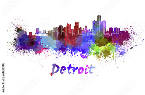 Photo Stands Beijing Detroit skyline in watercolor