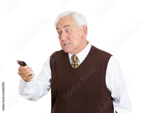 Portrait Angry Old Man Pissed Off At A Phone Conversation Buy