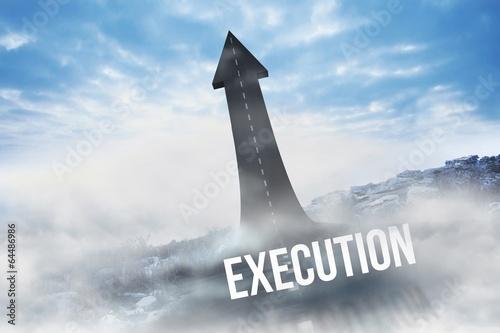 Fotografía  Execution against road turning into arrow
