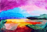 Abstrakcyjny krajobraz akwarela malarstwo - 64488589