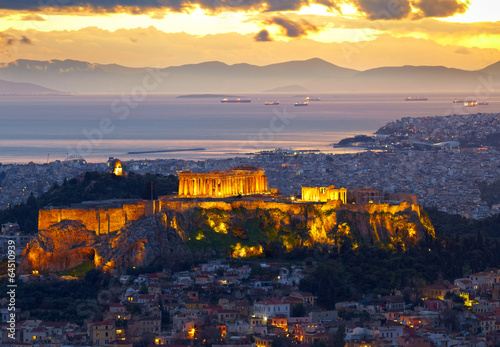 Garden Poster Athens Athens, Greece. After sunset. Parthenon and Herodium constructio