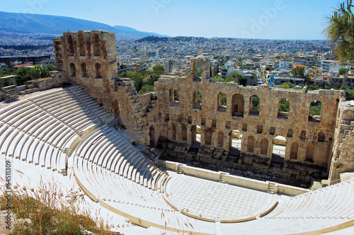 In de dag Athene Odeon of Herodes Atticus in Athens, Greece