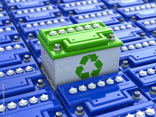 Photo Car battery recycling. Green energy. Background from accumulator