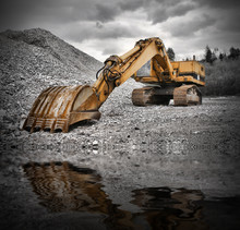 Earth Mover Near Water