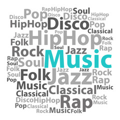 Naklejka Text cloud. Music wordcloud. Tag concept. Vector illustration.