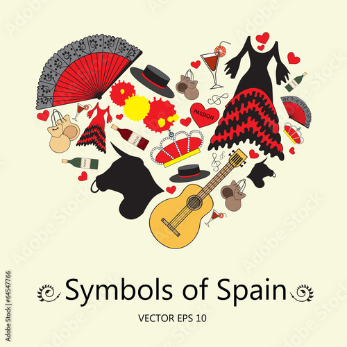 Stylized Heart With Symbols Of Spain Buy This Stock Vector And