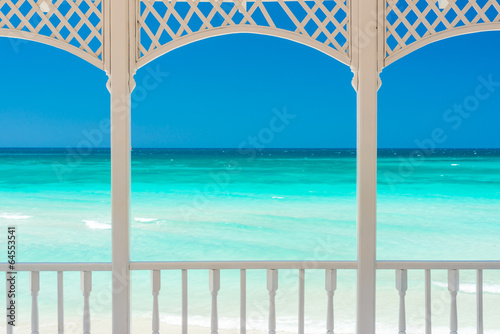 Photo Stands Caribbean Terrace with a view of a tropical beach in Cuba