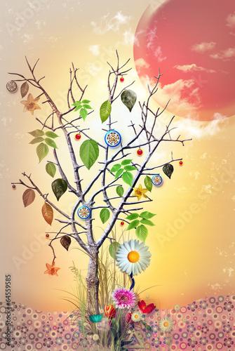 magiczne-drzewo-na-tle-abstrakcyjnego-zachodzacego-slonca