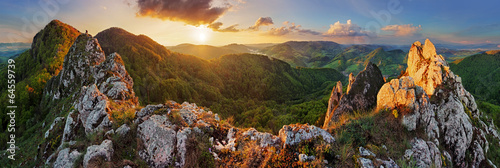 Fototapeta Panorama mountain landscape at sunset, Slovakia, Vrsatec obraz