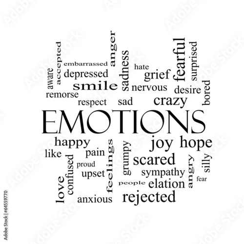 Fotografie, Tablou  Emotions Word Cloud Concept in black and white
