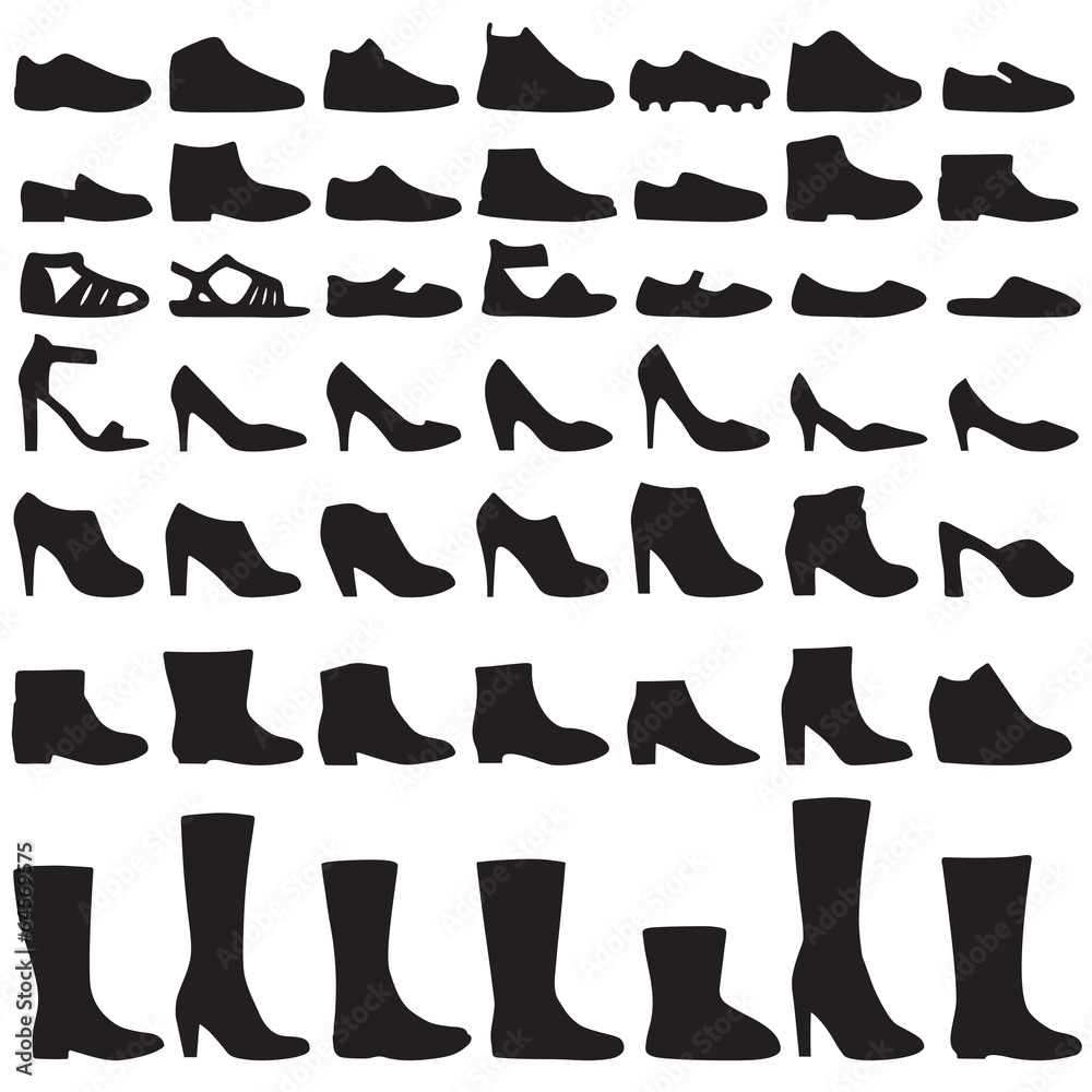 Fototapeta vector fashion shoes silhouette, set of icon boots