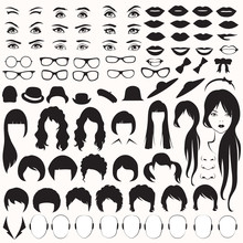 Eye, Glasses, Hat, Lips And Hair, Woman Face Parts, Head