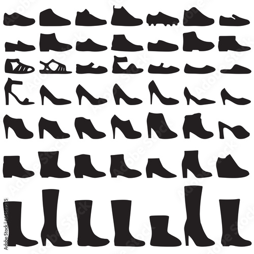 Obraz vector fashion shoes silhouette, set of icon boots - fototapety do salonu