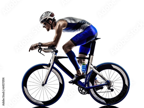 Photo sur Toile Cyclisme man triathlon iron man athlete cyclists bicycling