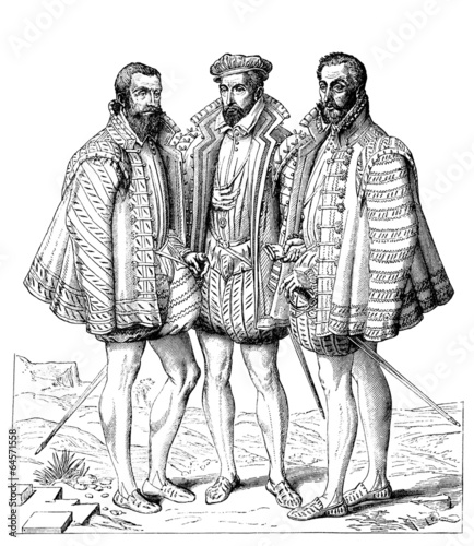 Stampa su Tela 3 Aristocratic Gentlemen - 16th century