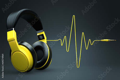 Photo  Wave impulse headphones concept.