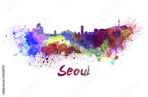 Photo  Seoul skyline in watercolor