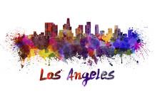 Los Angeles Skyline In Waterco...
