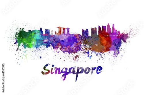 фотография  Singapore skyline in watercolor