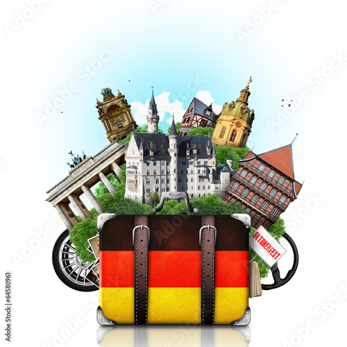 Fotografie, Obraz  Germany, german landmarks, travel and retro suitcase