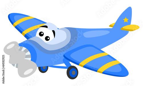niebieski-samolocik-na-bialym-tle
