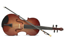 Wood Violin Isolated Over White