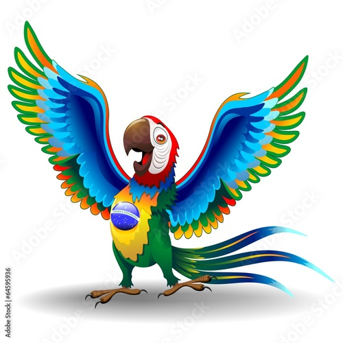 Macaw Cartoon with Brazil Flag Colors