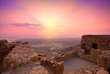 Beautiful Sunrise Over Ancient Masada Fortress In Israel