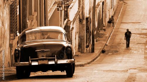 Photo  A classic car in a street, Cuba