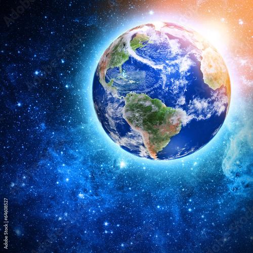 Naklejki kosmos niebieska-planeta-w-pieknej-przestrzeni