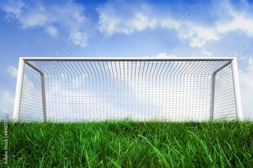 Fotografia, Obraz  Goalpost on grass under blue sky