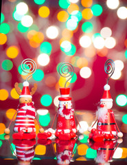 christmas toys with neon background