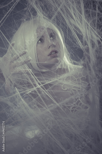 Tuinposter Illustratie Parijs Spider web trapped, Sensual lady in white corset, long hair, han