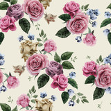 Vector seamless floral pattern with roses on light background