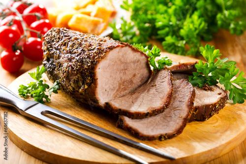 Fotografie, Obraz  roasted meat with vegetables