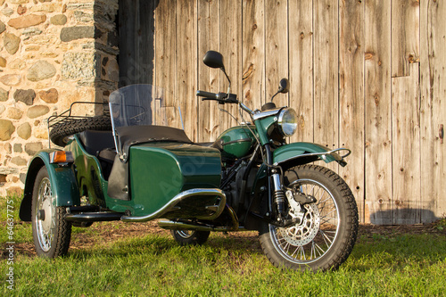 Autocollant pour porte Scooter Sidecar Motorcycle - with Rustic Background