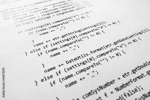 Fotografía  Código fuente de Java