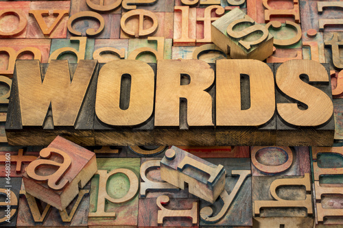 words text in wood type