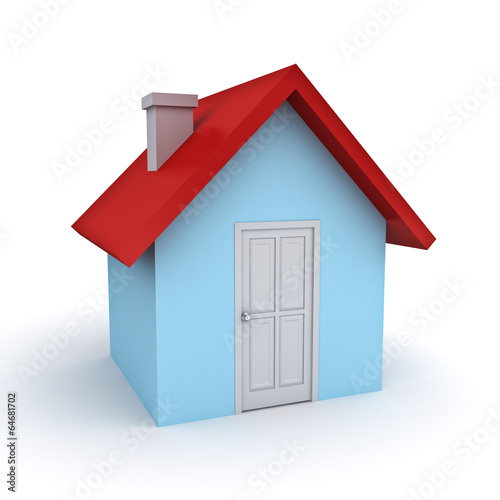 3d Simple House Model Isolated Over White Background Buy