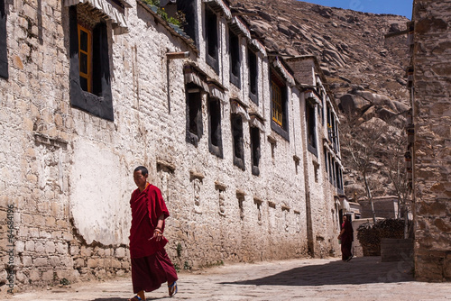 Canvas Prints Lama Lhasa, Tibet – April 13, 2009 : Unidentified Lama is walking i