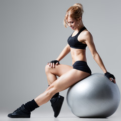 Fototapeta Fitness with gym ball